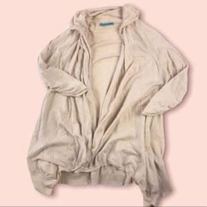 Alice and Olivia beige open front cardigan cotton cashmere blend size m